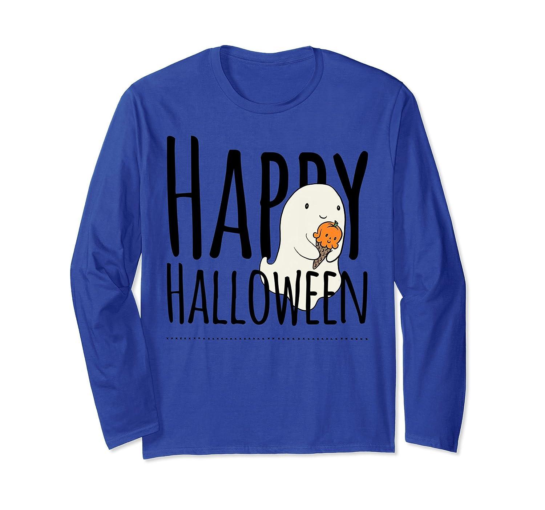 Cute Halloween ghost eating ice cream long sleeve tee shirt-mt