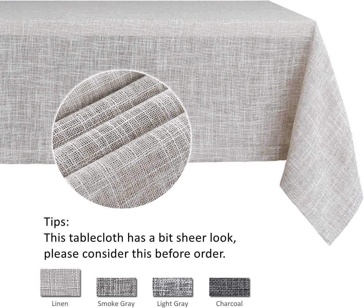 maxmill Flaxy Faux Linen Table Cloth with 2-Tone Slubby Texture Wrinkle Resistant Anti-Shrink Soft Tablecloth for Kitchen Dining Tabletop for Buffet Banquet Rectangle 52 x 70 Inch Linen: Home & Kitchen