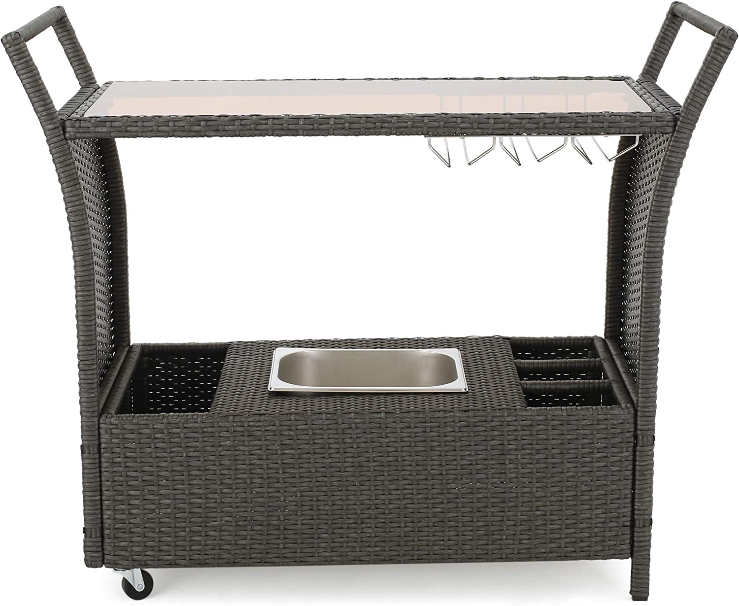 Christopher Knight Home 299521 Bahama Wicker Bar Cart, Grey