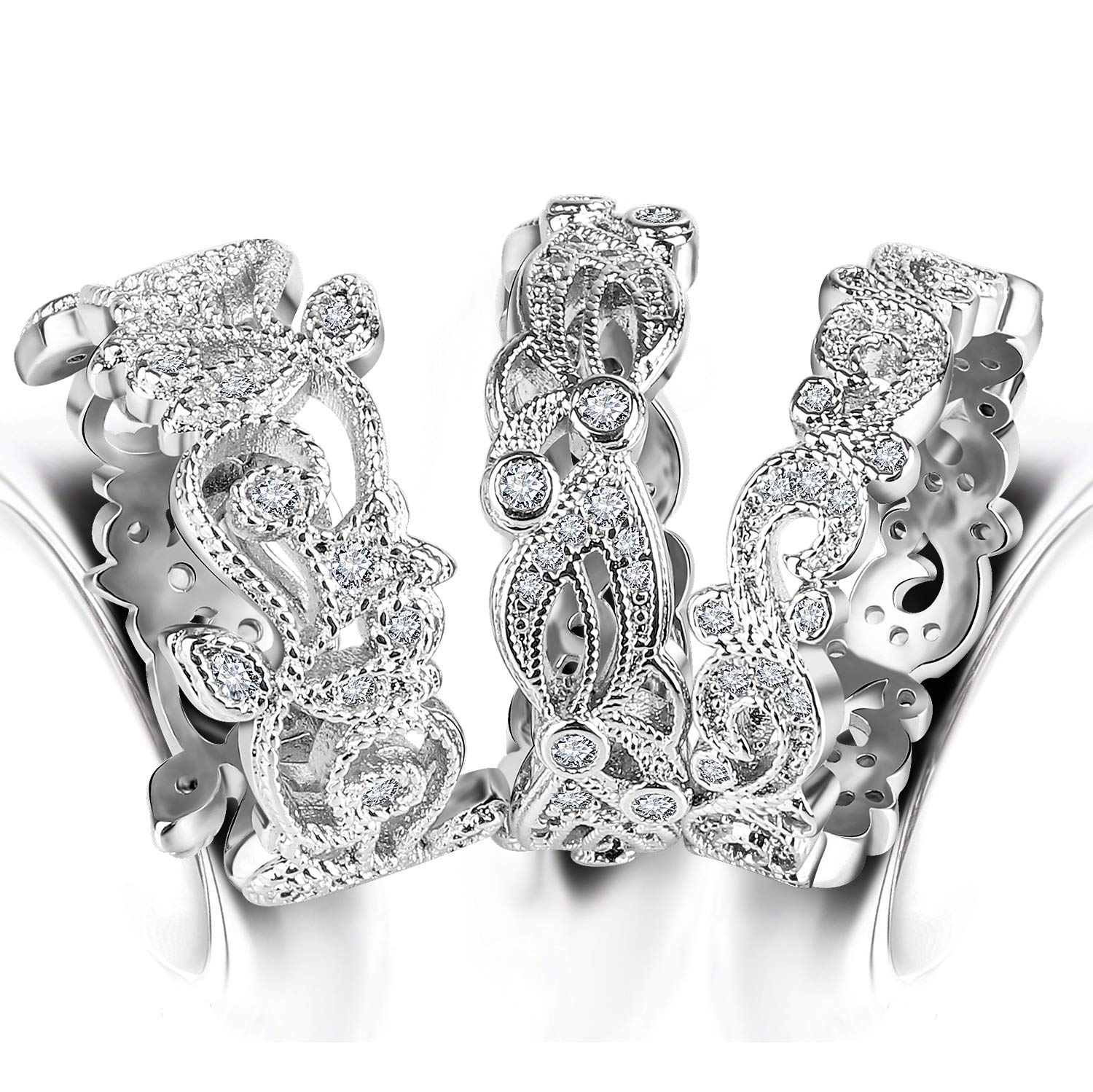 3 PCS Filigree Band Bridal Sets - Hollow Floral Vine Swirl Wave Promise Eternity Wedding Band Stackable Rings for Women