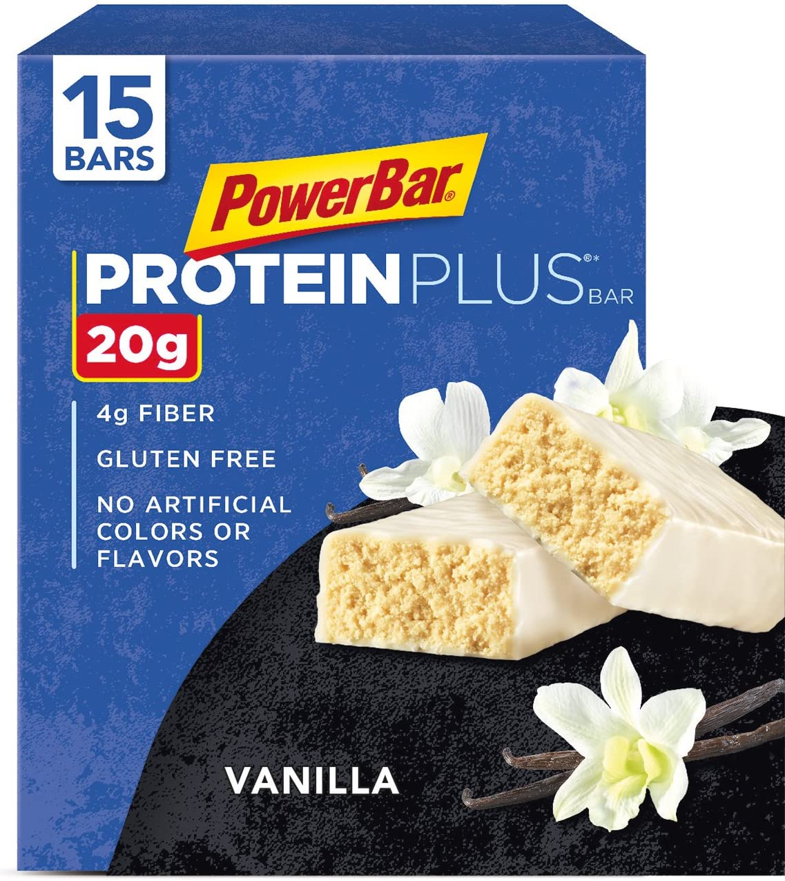 PowerBar Protein Plus Bar, Vanilla, 2.12 Ounce Pack of 15