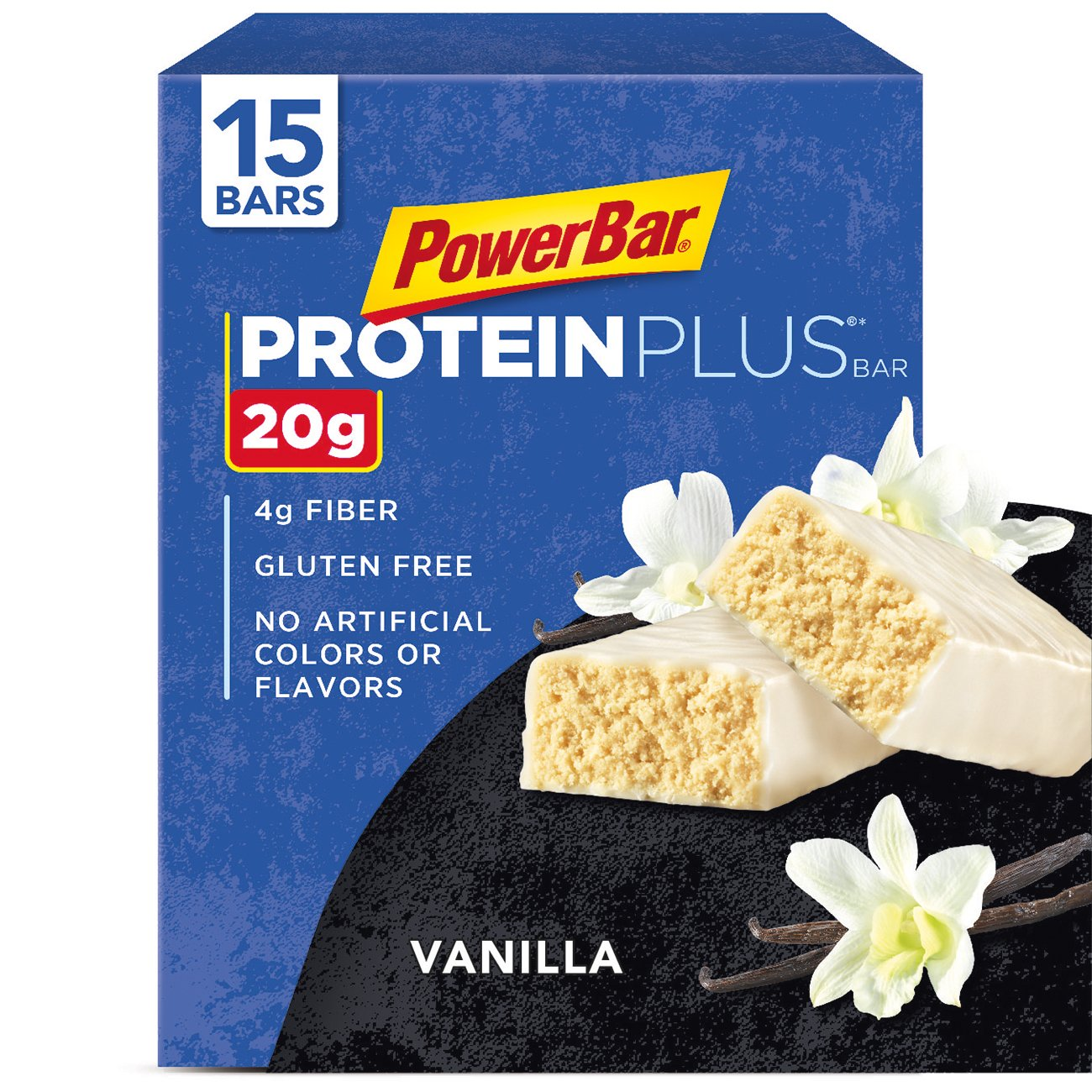 PowerBar Protein Plus Bar, Vanilla, 2.12 oz Bar, (15 Count)