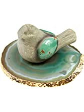 """The Royal Gift Shop Single Authentic Brazilian Agate Slice with 24k Gold Plated Rim - Green (4""""-5"""") Protective Rubber Bumpers Included. Green (4""""-5"""")"""