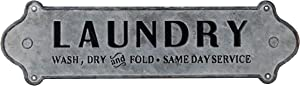 "NIKKY HOME 23"" x 7"" Metal Laundry Room Sign Wash Dry and Fold Same Day Service, Gray"