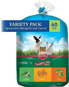 Kaytee Timothy Hay Flavor Variety Multi Pack, Spearmint, Marigold, Carrot,60 oz