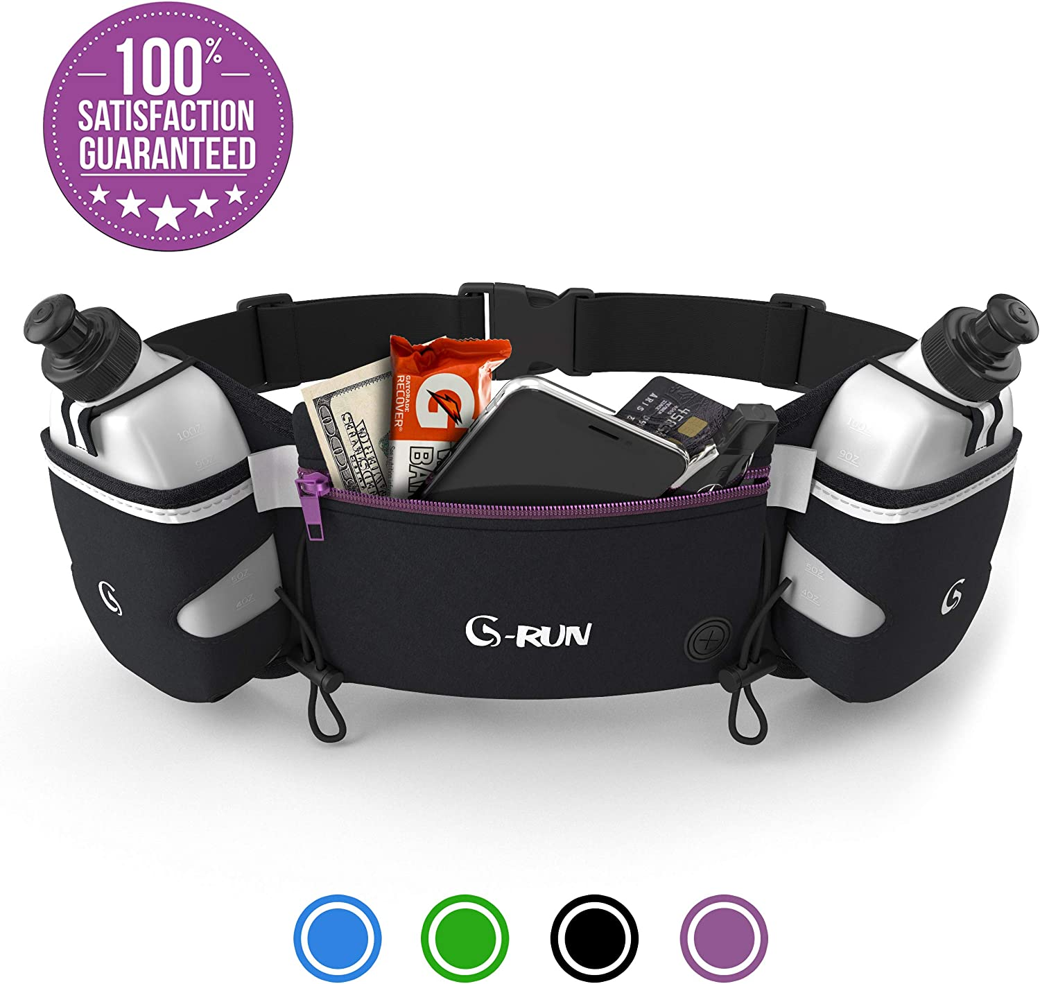 G-RUN Hydration Running Belt with Bottles – Water Belts for Woman and Men – iPhone Belt for Any Phone Size – Fuel Marathon Race Pack for Runners – Jogging Waist Pouch