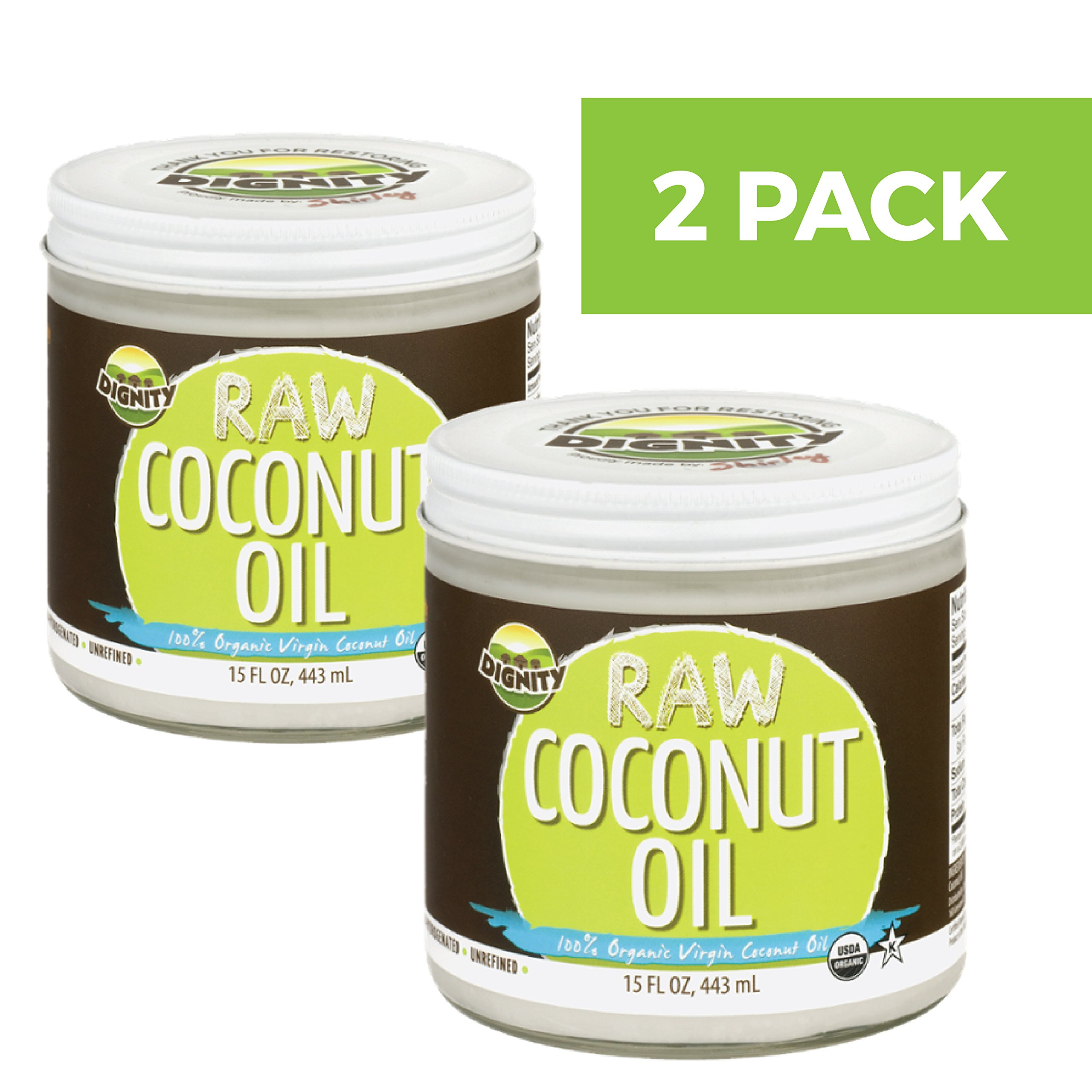 Dignity Organic Virgin Coconut Oil - Centrifuge Raw 2-PACK (15oz) by Dignity Coconuts