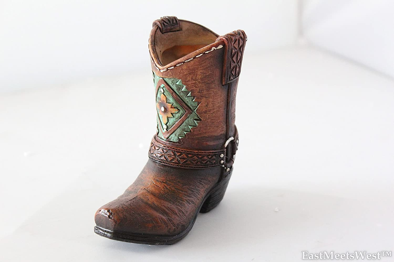 Mini Western Cowboy Cowgirl Turquoise Flower Boot Toothpick Pen Holder Vase Rustic Decoration Rainbow