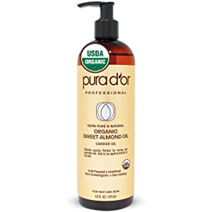 PURA D'OR Carrier Oil: Organic Sweet Almond Oil 16 oz USDA Certified Organic 100% Pure & Natural Hexane Free Soothing Vitamin E Oil for Skin & Face