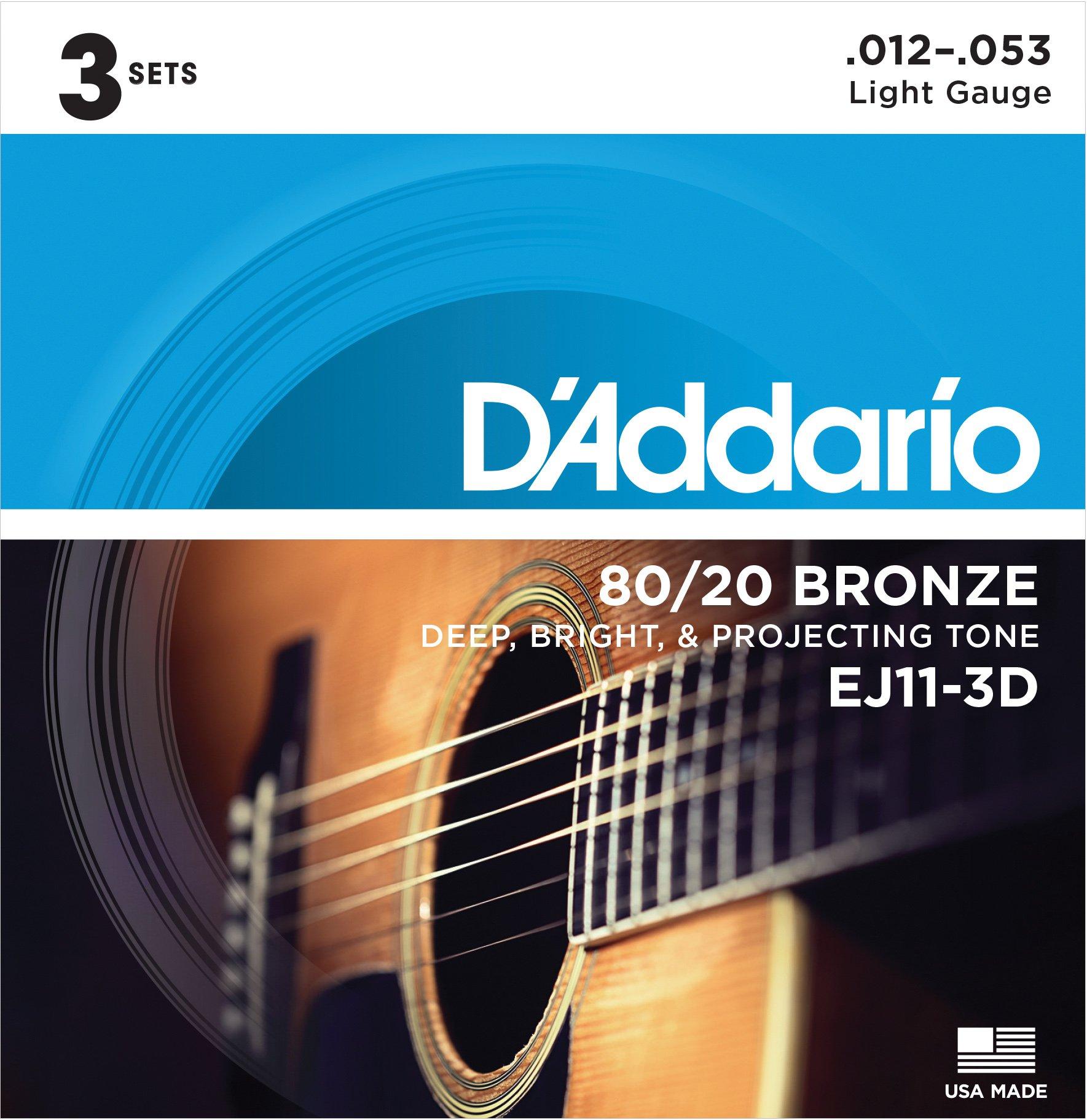 D'Addario EJ11-3D 80/20 Bronze Acoustic Guitar Strings, 12-53, 3 Sets, Light