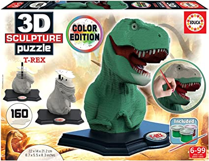 Educa Borrás- Color 3D Sculpture Puzzle T-Rex (17848): Amazon.es: Juguetes y juegos