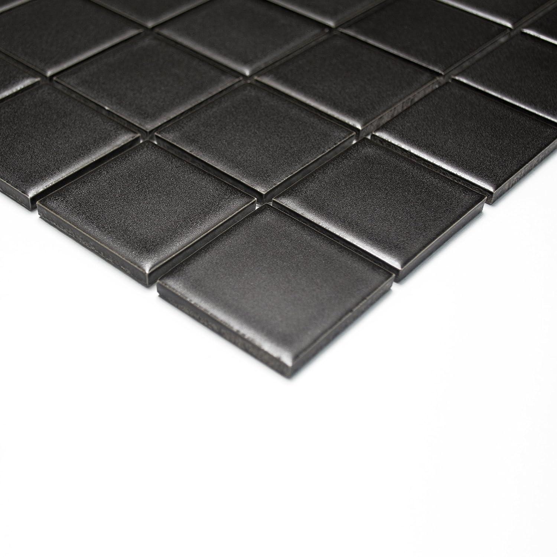 Mosaikfliesen Fliesen Mosaik K/üche Bad WC Wohnbereich Fliesenspiegel Keramikmosaik Quadrat uni schwarz matt 6mm Neu #253