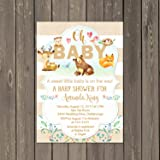 Woodland Animals Deer Baby Shower Invitations, Forest Friends Baby Shower  Invitations, Set Of 10