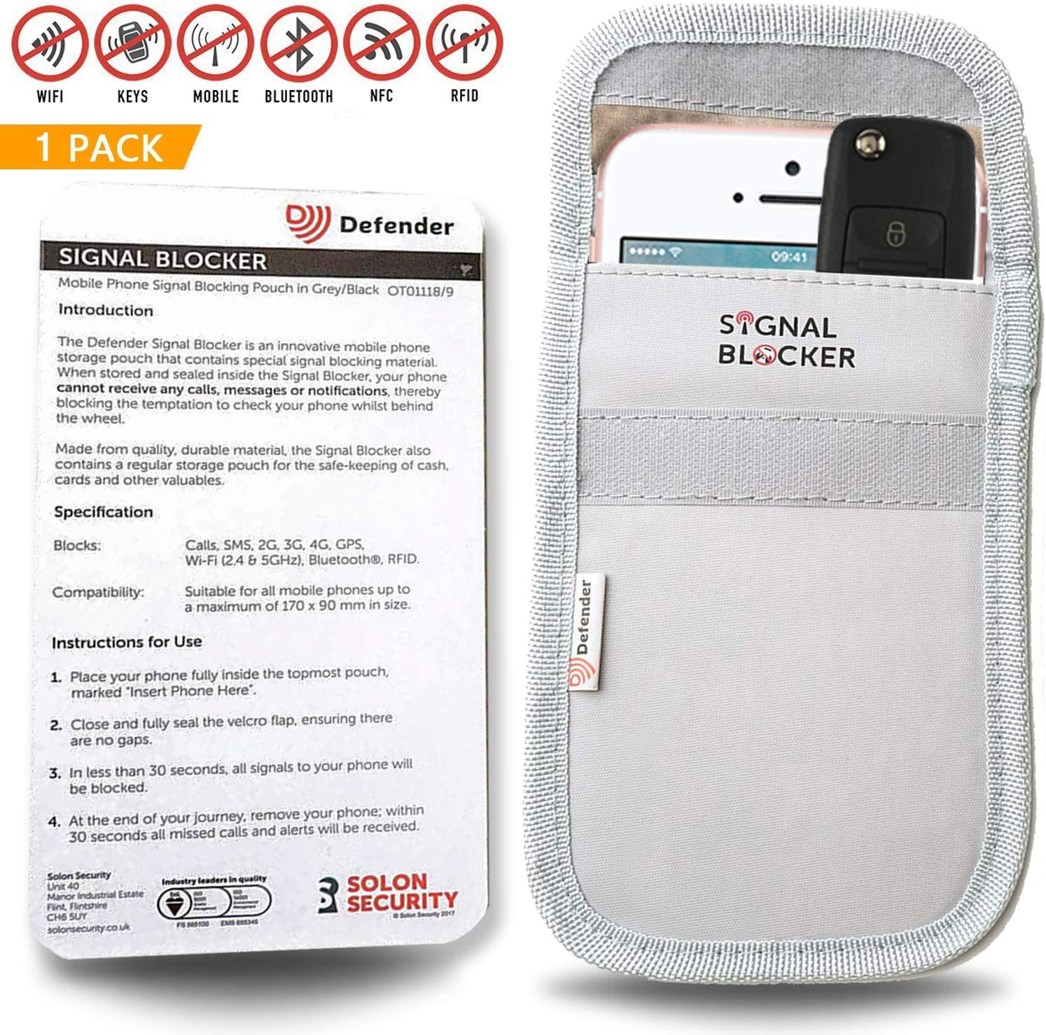 Smart Cards DEFENDER SIGNAL BLOCKER POUCH for Car Key Fob Grey Mobile Phone