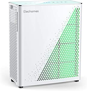 Elechomes Air Purifier with True HEPA Filter, Air Quality Monitor with Smell Sensors, Air Cleaner Filter for Large Room Home Office 350 Ft² for Smoker Pets, UC3101