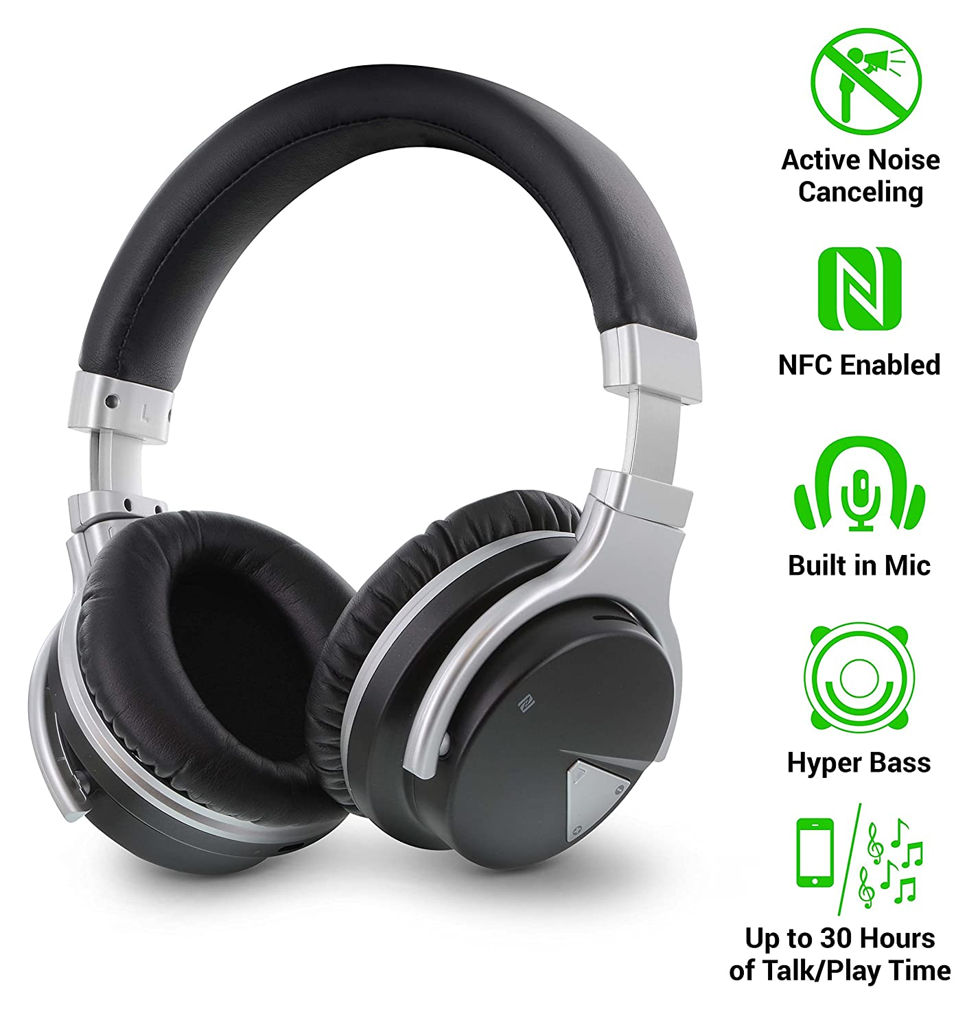 697ca341708 Amazon.com: Okra Rhythm JB500 Active Noise Cancelling Wireless Over-Ear  Stereo Headphones - Microphone, Volume, Play, Pause, Skip and Answer Call  Controls ...