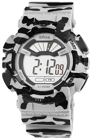 Hombres Reloj De Pulsera Blanco Negro Camuflaje Mlitar + Caja Digital Plástico Silicona Cuero Fecha Sport Alarma Cronógrafo Luz Cuarzo Niños: Amazon.es: ...