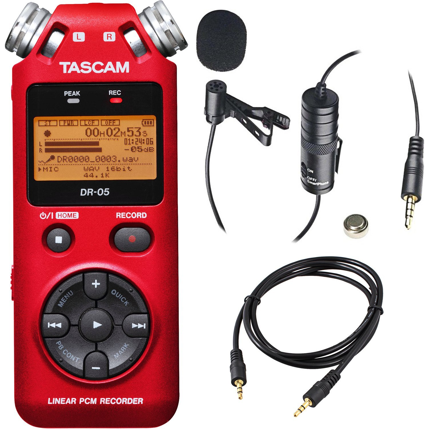 Tascam DR-05 Portable Handheld Digital Audio Recorder (Red) with Deluxe accessory bundle by Tascam (Image #1)