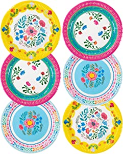 "Talking Tables Bohemain Décor Decorations Supplies Boho Floral Tea Party Plates Pack of 12, Dia 23cm, 9"", Pink Blue Yellow"