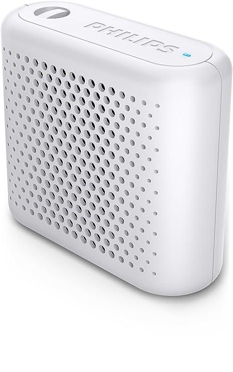 Philips BT55W - Mini Altavoz Bluetooth inalámbrico portatil, Compatible con Smartphones, iPhone, Android