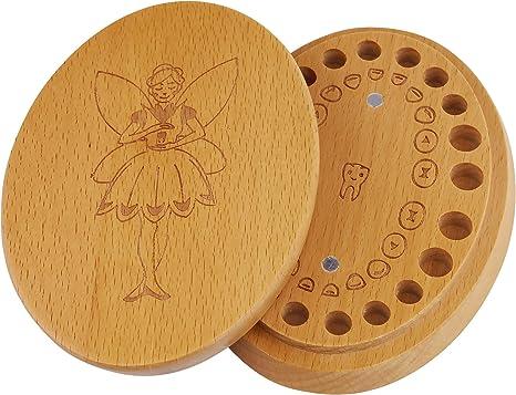 Caja de dientes de leche, hecho de madera, para guardar los ...