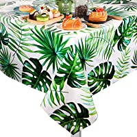 2 Pieces Hawaii Palm Leaves Tablecloth Disposable Plastic Tropical Rectangular Table Covers for Birthday, Luau…