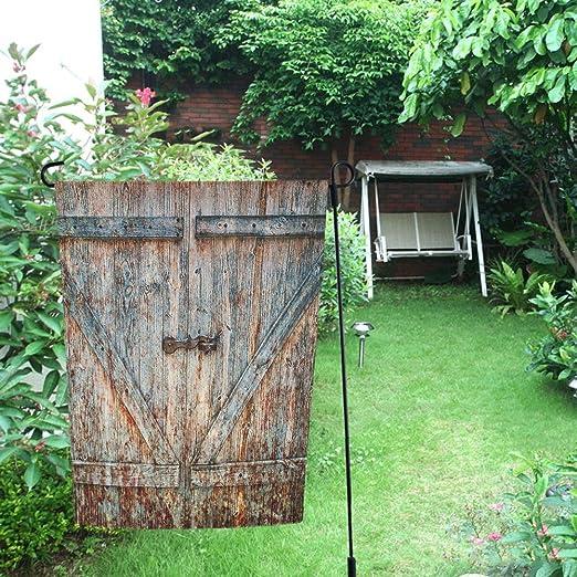 yibn rústico viejo granero de madera garaje puerta jardín bandera 12, 5 x 18 pulgadas Banner casa casa de impresión de banderas banderas decoración del hogar: Amazon.es: Jardín