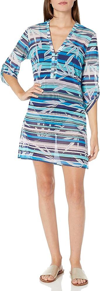 GOTTEX Blue Tourmaline Silk Sleeveless Swim Beach Dress Coverup  Sz Medium NWT
