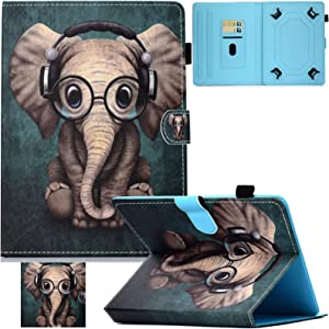 Universal 9.5-10.5 inch Case, Artyond PU Leather Cover Anti-Slip Stripe Stand Slim Fold with Magnetic Snap Multi-Angle Cards Slots Flip Protective Case for All 9.5-10.5 inch Tablet (Elephant)