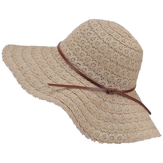 ASYBHYY Summer Sun Hat for Women Ladies Straw Sunhats Wide Brim Anti-UV  Beach Cap 5473a3d1528e