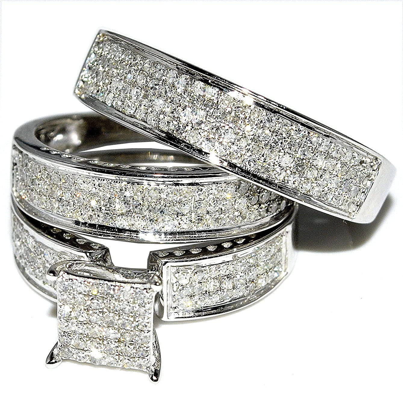 Rings Midwestjewellery Com Women S His And Her Trio Wedding Rings
