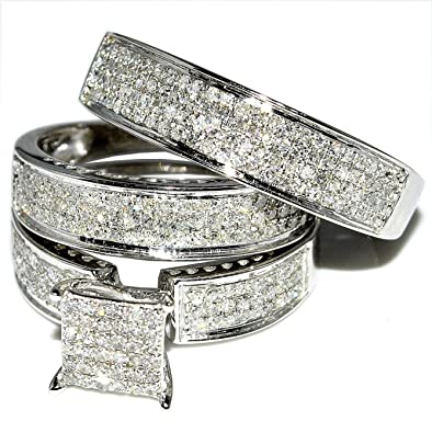 09f0320c22 His and Her Trio Wedding Rings Set 1.00ct W Diamonds 10k White Gold Square  Round