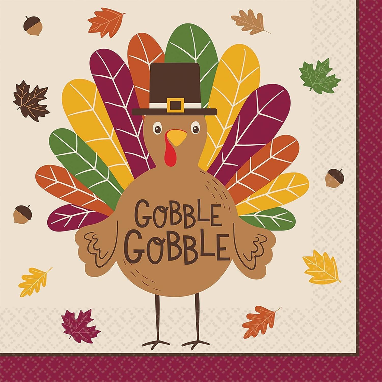 16 Ct. Gobble Gobble Thanksgiving Dinner Napkins 7.8 x 7.8