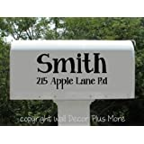 Personalized Mailbox Decal Stickers, Vinyl Letters, Set of 2 Name, House Number and Street Name, (Basic (12x6))