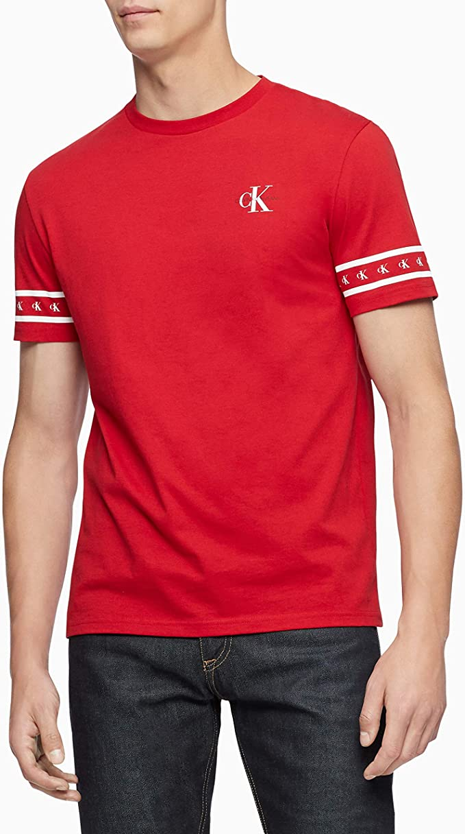 Calvin Klein Mens Monogram Logo Tape Crewneck T-Shirt Tees