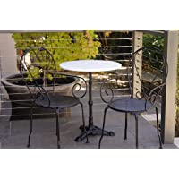 Patio Setting Bella 3 Piece Cafe Dining Indoor Outdoor 60cm Marble Table Cast Iron Base 2 Chairs with Arms