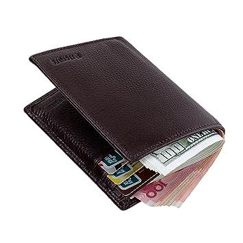 5df8c3706d60 TECOOL® RFID Blocking Genuine Leather Bifold Front-Pocket Wallet ...