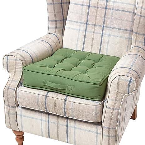 Homescapes - Cojín Elevador para Silla (100% algodón), Verde ...