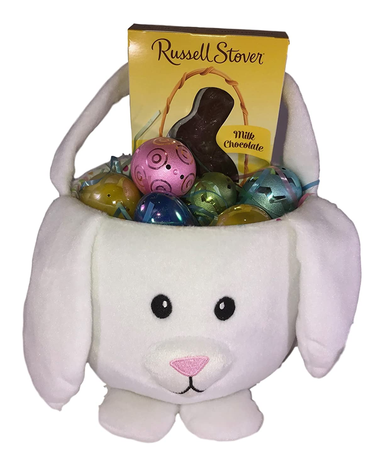 Amazon.com : Easter Gift Basket Toddler Bundle - Milk Chocolate Candy Rabbit, 5 Plastic Pearlized & Two Toned Fillable Eggs, Multi-Colored Grass with Yellow ...