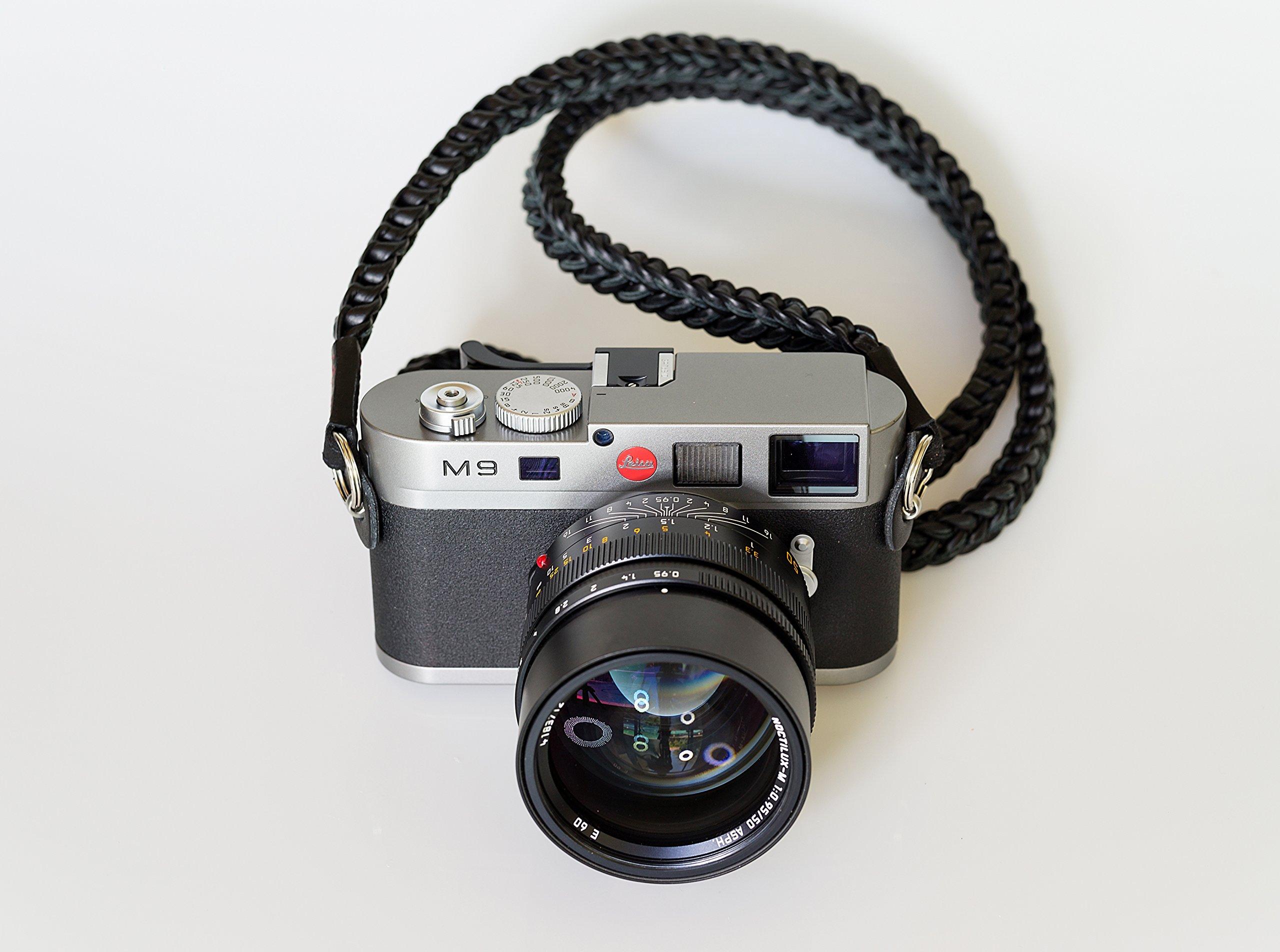 Barton 1972 Pitch Black Braided Leather 1972 XL 50'' (125cm) Leica Sony Fuji Luxury Designer Barton1972 Top Grain Leather by Barton 1972 (Image #9)
