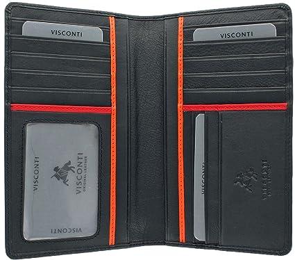 Visconti Chaqueta de piel Para Hombre calidad tipo cartera para 14 tarjetas de crédito y billetes de banco - en caja de regalo Black/Red/Orange: Amazon.es: ...