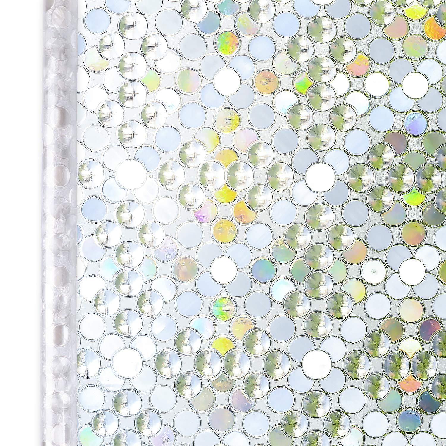 Homein® Privacy Window Film Bubble Pattern 44.5x200CM Thick Upgrade, Self Adhesive Rainbow Effect Decorative Glass Frosted Sticker Static Cling Anti UV Reusable Obscure Cover for Door Blind Bedroom HOMEIN CO. LTD