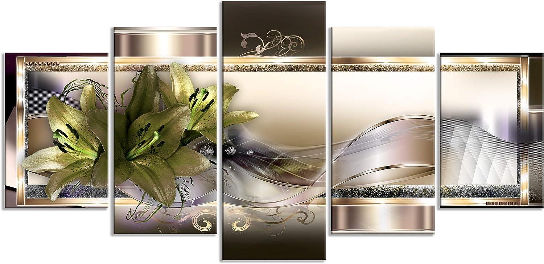 decomonkey Impression sur Toile intiss/ée Orchid/ée 100x50 cm 5 Pieces Tableau Mural Image sur Toile Photo Images Motif Moderne Decoration tendu sur Chassis Fleurs Abstrait