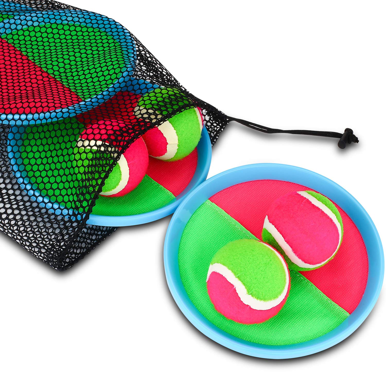 Ayeboovi Paddle Toss and Catch Ball Set for Kids- Self Stick Paddle Game with 4 Paddles, 4 Balls and 1 Storage Bag for Children by Ayeboovi (Image #8)