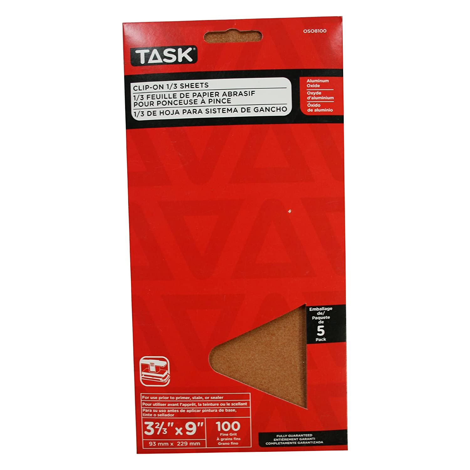 Task Tools OSO8100 3-2//3-Inch by 9-Inch Clip-On 1//3-Sheet Sandpaper 100 Grit 5-Pack