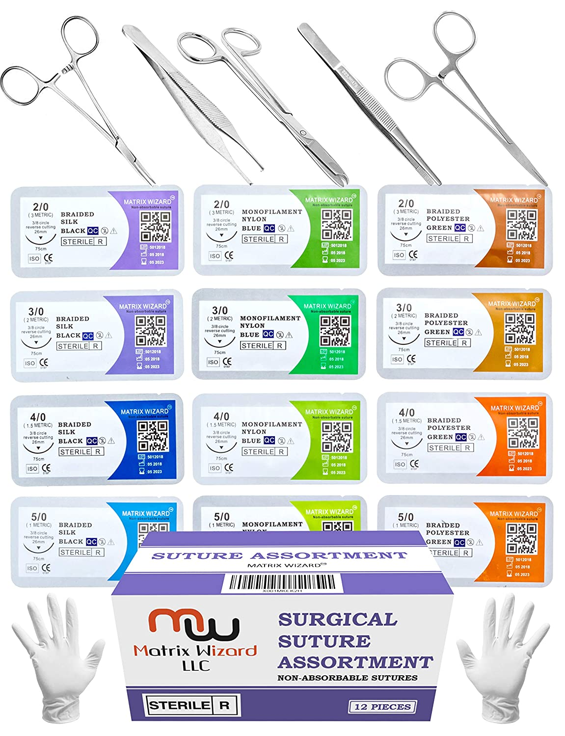 Sutures Thread with Needle + Training Instruments - Suture Practice, Medical Surgical Practice Suturing Kit, Hemostat First Aid Field Emergency Learning Set (Mixed 12PK 2-0, 3-0, 4-0, 5-0 + 6 Tools) Matrix Wizard