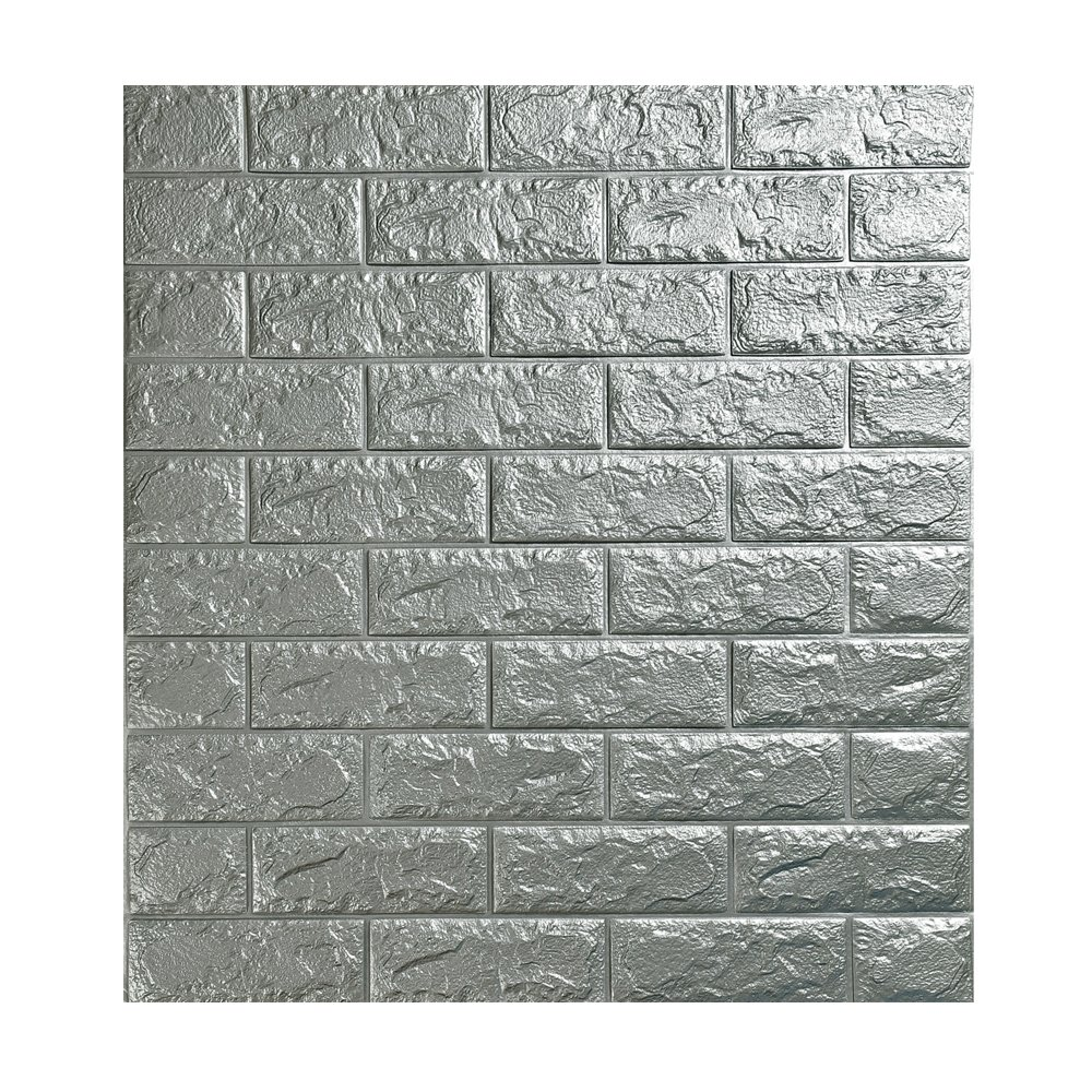 3D立体壁紙 DIYレンガ調壁紙シール 70x77CM ウォールステッカー 軽量レンガシール 壁紙シール 自己粘着 防水 多色選択 (70*77cm(30枚入れ), カレッジシルバー) B071HWY7JG 70*77cm(30枚入れ)|カレッジシルバー
