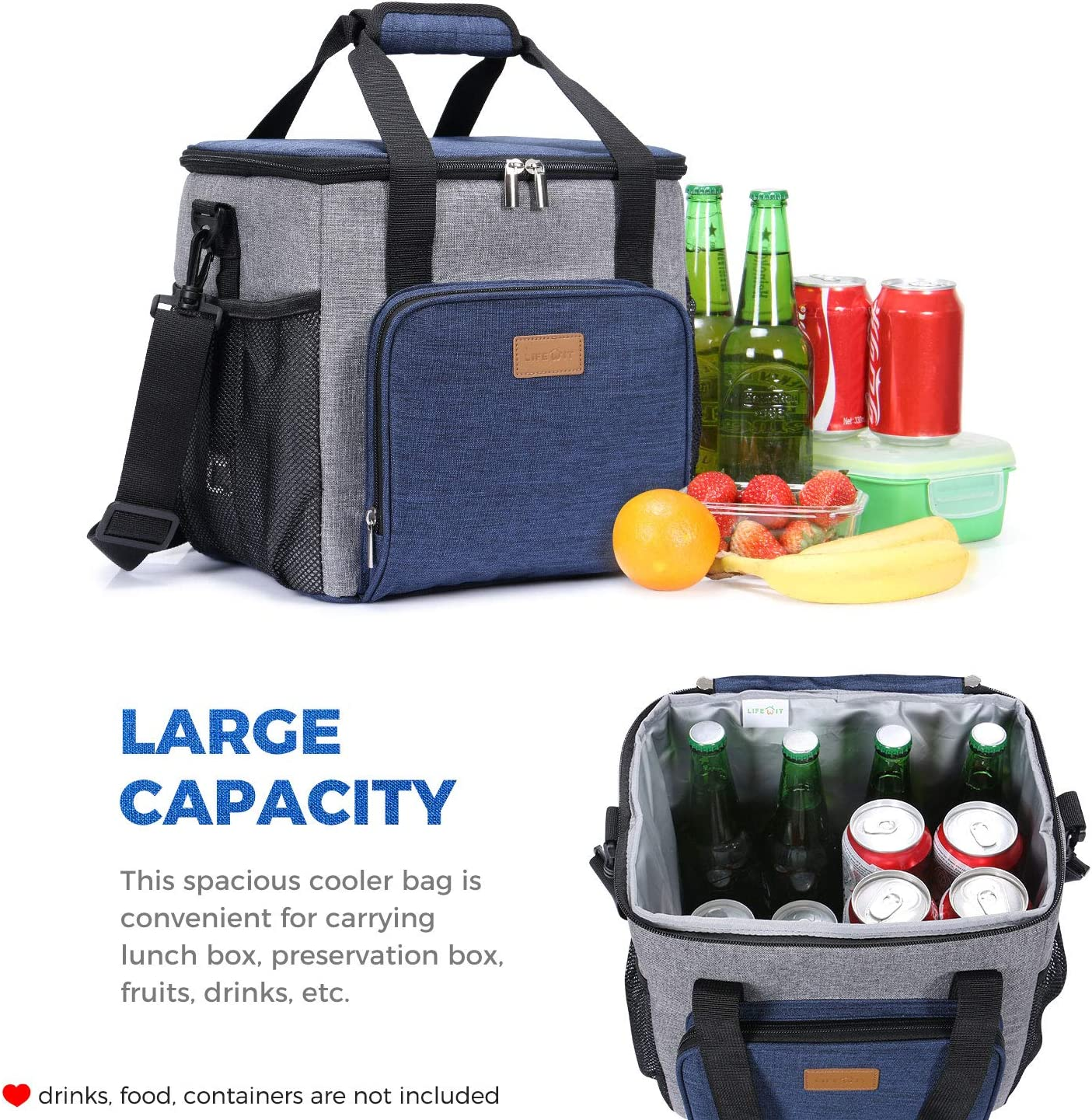 Large Lunch Box Bag for School//Work Lifewit Insulated Cooler Bag Soft Cooling Box for Men Adults with 2 Ice Packs 24-Can 17L Grey