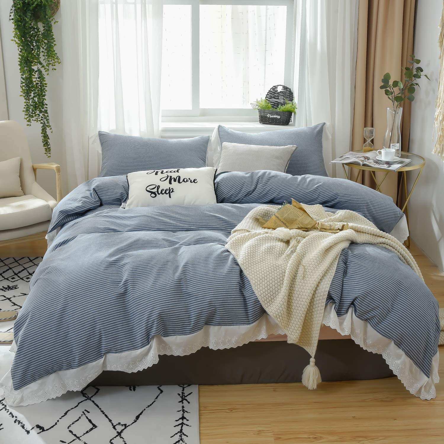 Softta California King Bedding Ruffle Striped Duvet Cover 3 Pcs Farmhouse Vintage White and Navy Blue 100% Washed Cotton Tassel Princess Girls Bedding with Zipper Ties 1 Duvet Cover + 2 Pillow Shams