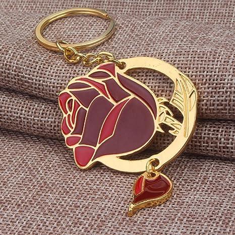 1 pc Mini bolsillo belleza bestia llavero llavero Keyfob oro ...